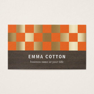 ORANGE & GOLD CHECKED SQUARES | BUSINESS CARDS