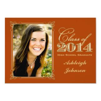 Orange, Gold Class of 2014 Photo Graduation Invite