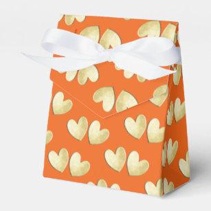 Orange Gold Elegant Cly Love Hearts Wedding Favor Box