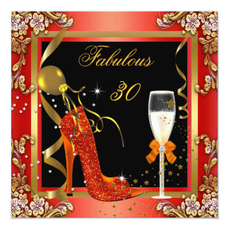 Orange Gold Fabulous 30 Birthday Party 2 Card
