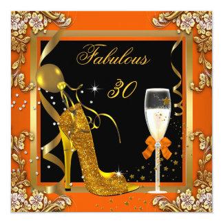 Orange Gold Fabulous 30 Birthday Party Card