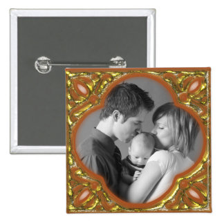 Orange & Gold Frame 2 Inch Square Button