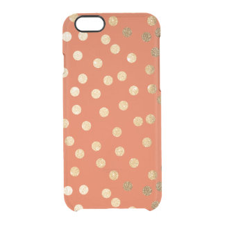 Orange Gold Glitter Dots Clear Phone Case Uncommon Clearly™ Deflector iPhone 6 Case