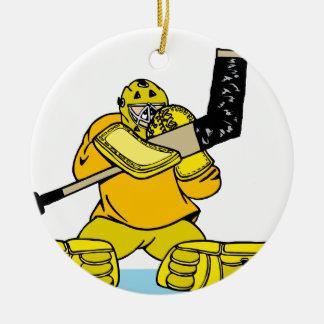 Orange Gold Goalie Ceramic Ornament