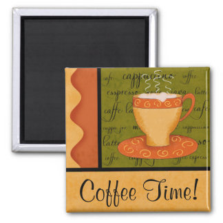Orange Gold Green Coffee Cup Art Custom Name 2 Inch Square Magnet