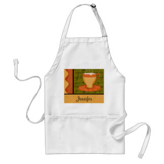 Orange Gold Green Coffee Cup Art Custom Name Aprons