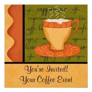 Orange Gold Green Coffee Cup Art Custom Name Card
