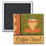 Orange Gold Green Coffee Cup Art Custom Name Refrigerator Magnet