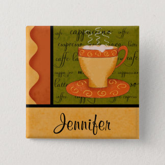 Orange Gold Green Coffee Cup Art Custom Name Pinback Button