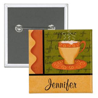 Orange Gold Green Coffee Cup Art Custom Name Pinback Button