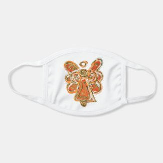 Orange Gold Guardian Angel Art Custom Face Mask