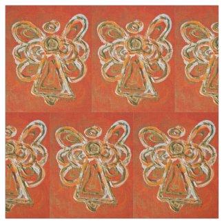 Orange Gold Guardian Angel Art Fabric Material