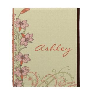 Orange Peach Gold Lily Flowers iPad Folio Case