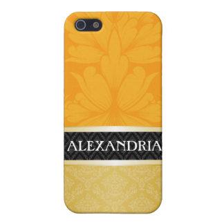 Orange & Gold Personalized Damask iPhone 4 Case