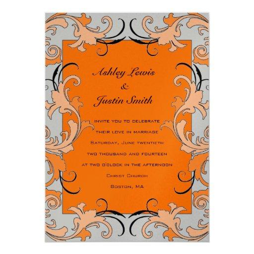 Orange Gold Vintage Floral Wedding Invitation