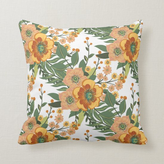 Orange Gold White and Green Floral Baroque Throw Pillow