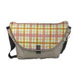 Orange Gold White Green Madras Plaid Messenger Bag