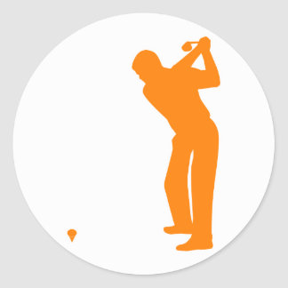 Orange Golf Classic Round Sticker