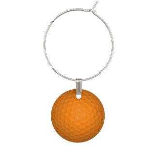 Orange Golfball Wine Glass Charm