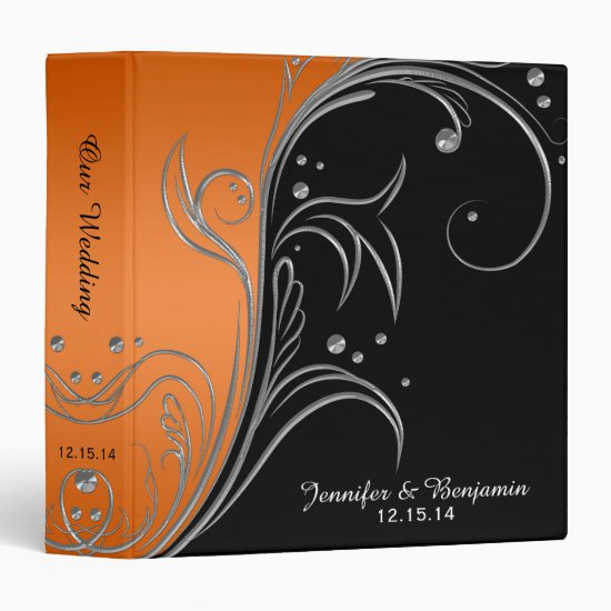 Orange Gradient Black Silver Scrolls Album 3 Ring Binder