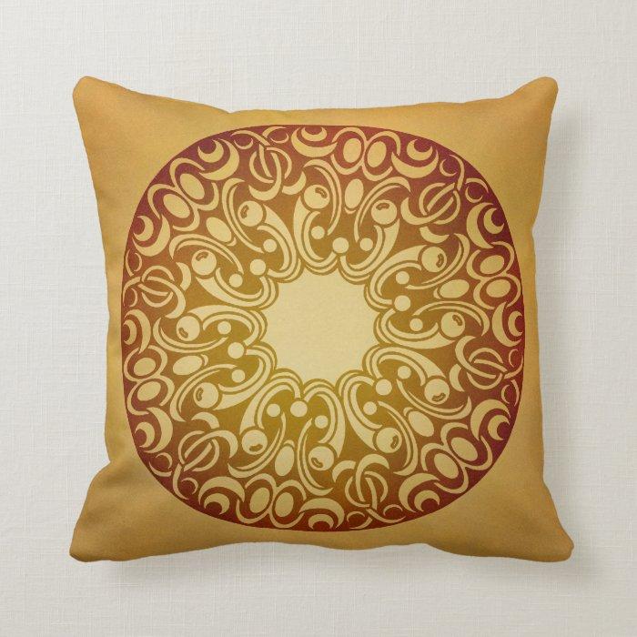 Orange gradient medallion throw pillow