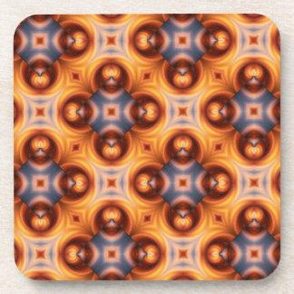 Orange Gradient Vintage Mosaic Pattern Beverage Coaster