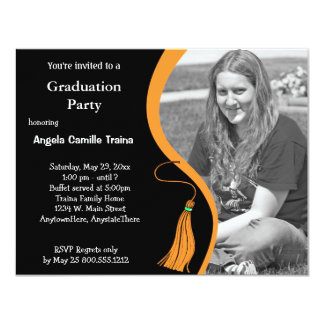 Orange Graduation Horizontal Photo Invitation