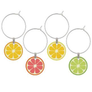 Orange Grapefruit Lemon Lime Citrus Fruit Slice Wine Charm