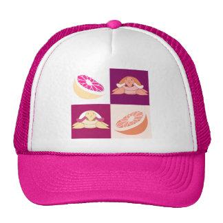 Orange Grapefruit Turtles Checkered Pattern Trucker Hat