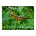 Orange Grasshopper Ring Bearer Request Card
