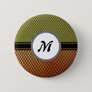 Orange Grating Green Mesh Crazy pattern Monogram Button