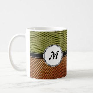 Orange Grating Green Mesh Crazy pattern Monogram Coffee Mug