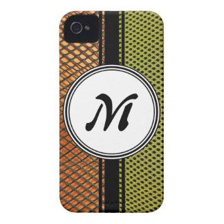 Orange Grating Green Mesh Crazy pattern Monogram iPhone 4 Cover