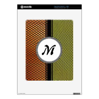 Orange Grating Green Mesh Crazy pattern Monogram Skins For The iPad