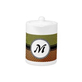 Orange Grating Green Mesh Crazy pattern Monogram Teapot