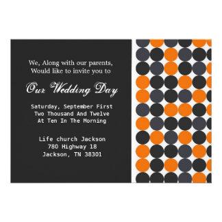 Orange, Gray & Black Polka Dots Wedding Invites