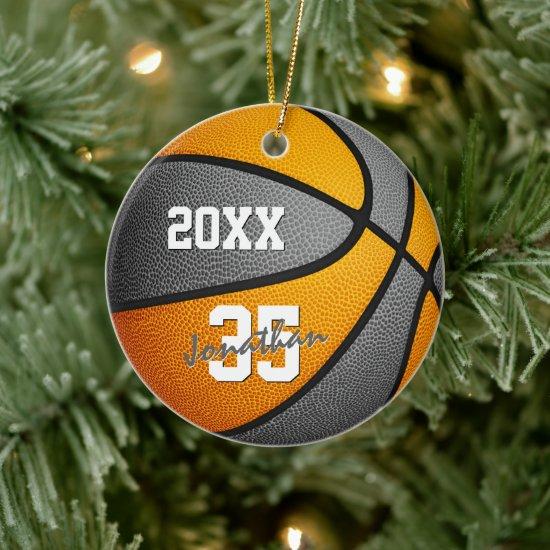 orange gray boys girls basketball team memento ceramic ornament