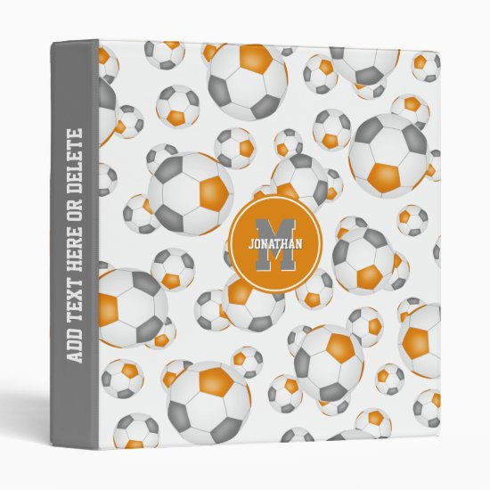 orange gray boys girls team colors soccer balls 3 ring binder