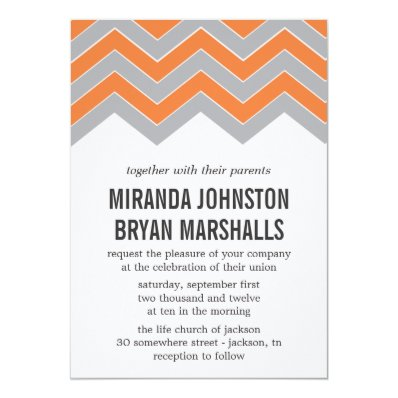 Orange & Gray Chevron Design Wedding Invitations