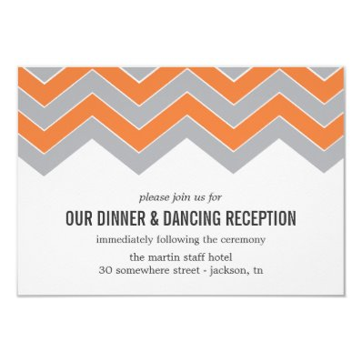 Orange & Gray Chevron Wedding Reception Cards
