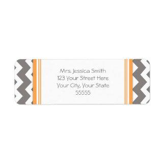 Orange Gray Chevrons Custom Return Address Labels