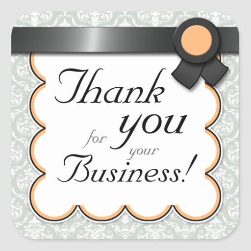 """Orange & Gray Damask """"Thank you for your Business"""" Square Sticker"""