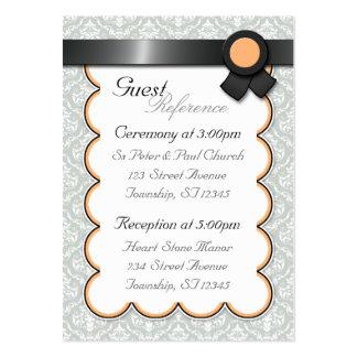 Orange & Gray Damask Wedding Guest Reference Cards