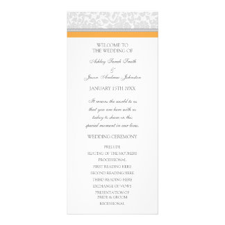 Orange Gray Damask Wedding Program