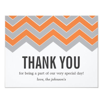 Orange & Gray Design Wedding Thank You Cards