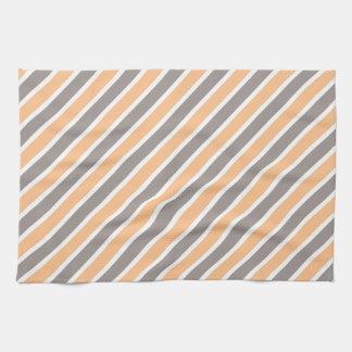 Orange Gray Diagonal Stripes Hand Towel