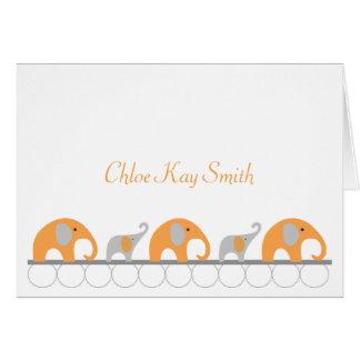 Orange Gray Elephant Baby Thank You Note w/photo Greeting Cards