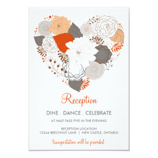 Orange Gray Heart Flowers Wedding Reception Card