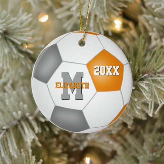 orange gray her his school team colors soccer ceramic ornament