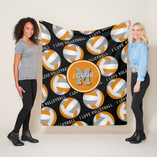 orange gray kids sports room I love volleyball Fleece Blanket